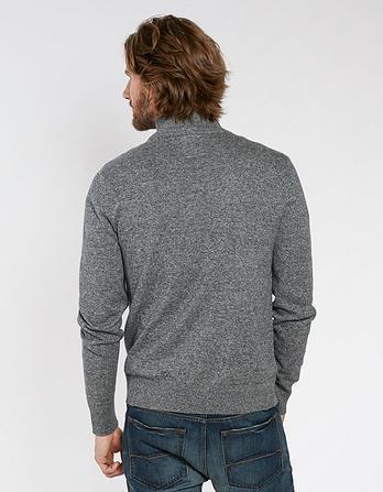 Cotton Cashmere Twisted Half Neck Sweater