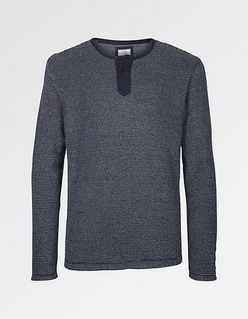Terry Stripe Henley T-Shirt