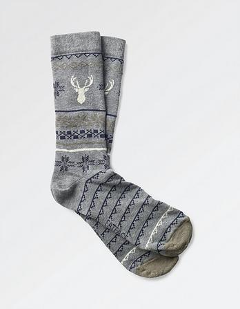 One Pack Fairisle Stag Socks