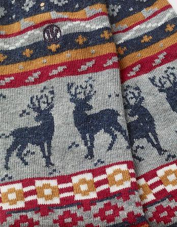 One Pack Fairisle Deer Socks