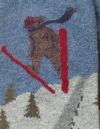 One Pack Ski Jump Bear Socks