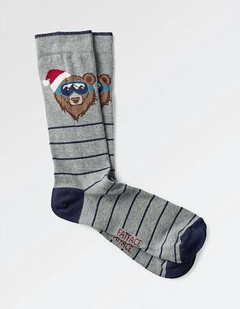 One Pack Snowboard Bear Socks