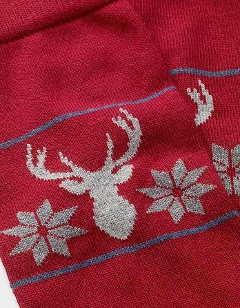 One Pack Stag Snowflake Socks