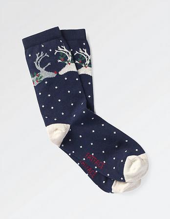 One Pack Kissing Deer Socks