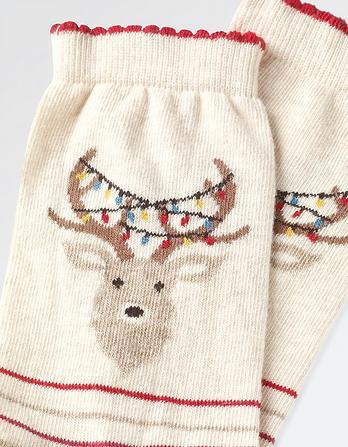 One Pack Reindeer Stripe Socks