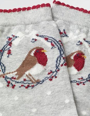 One Pack Robin Wreath Socks