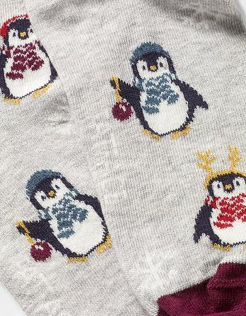 One Pack Festive Penguin Socks