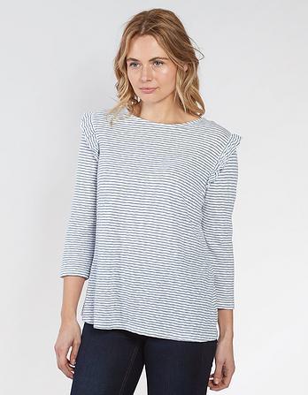 Melba Stripe Frill 3/4 Sleeve Top