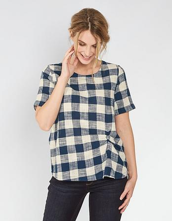 Charlie Gingham Twist Front Blouse