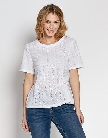 Charlie Broderie Twist Front Blouse