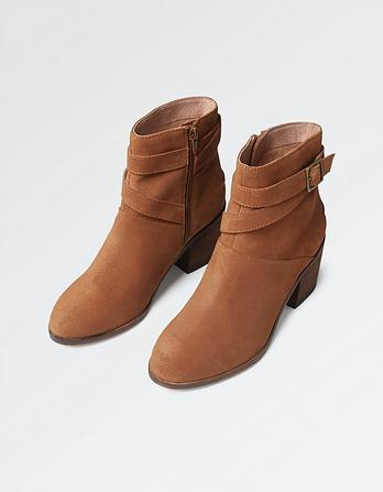Emily Buckle Suede Ankle Boots