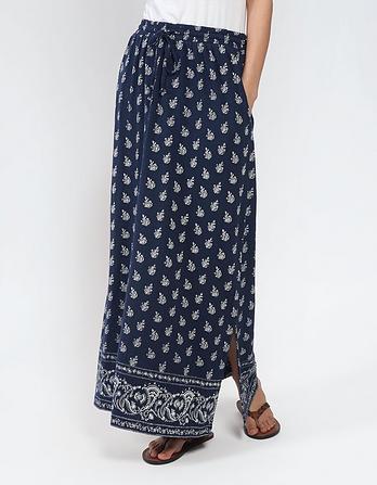 Jessica Woodblock Floral Maxi Skirt