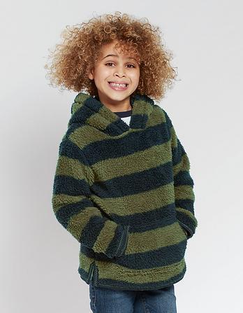 Hooded Stripe Popover Fleece