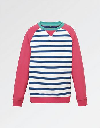 Stripe Raglan Crew Neck Sweatshirt