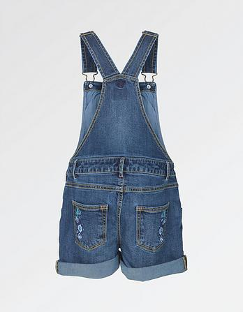 Embroidered Denim Dungaree Shorts