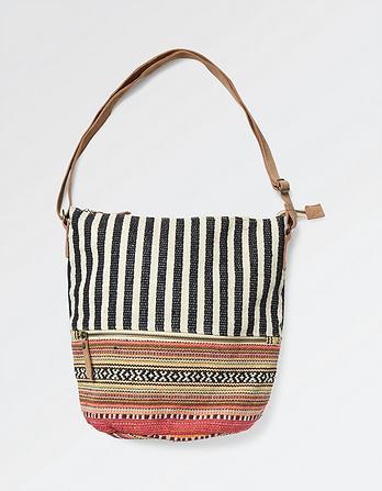 Tia Woven Patchwork Cross Body Bag