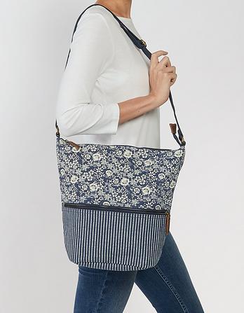 Tia Canvas Patchwork Cross Body Bag