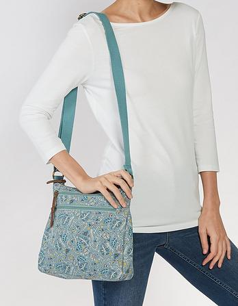 Multi Floral Canvas Cross Body Bag