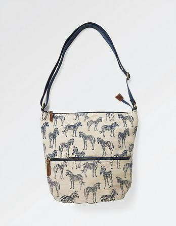 Zebra Woven Cross Body Bag