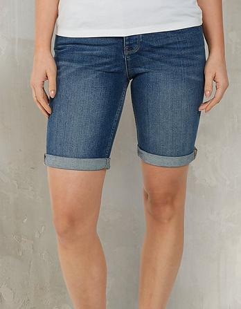 Mid Wash Denim Bermuda Shorts