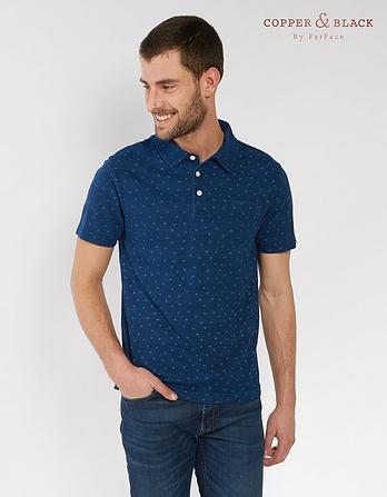 Richmond Indigo Printed Polo