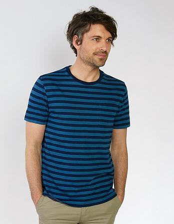 Indigo Breton Slub Crew Neck T-Shirt