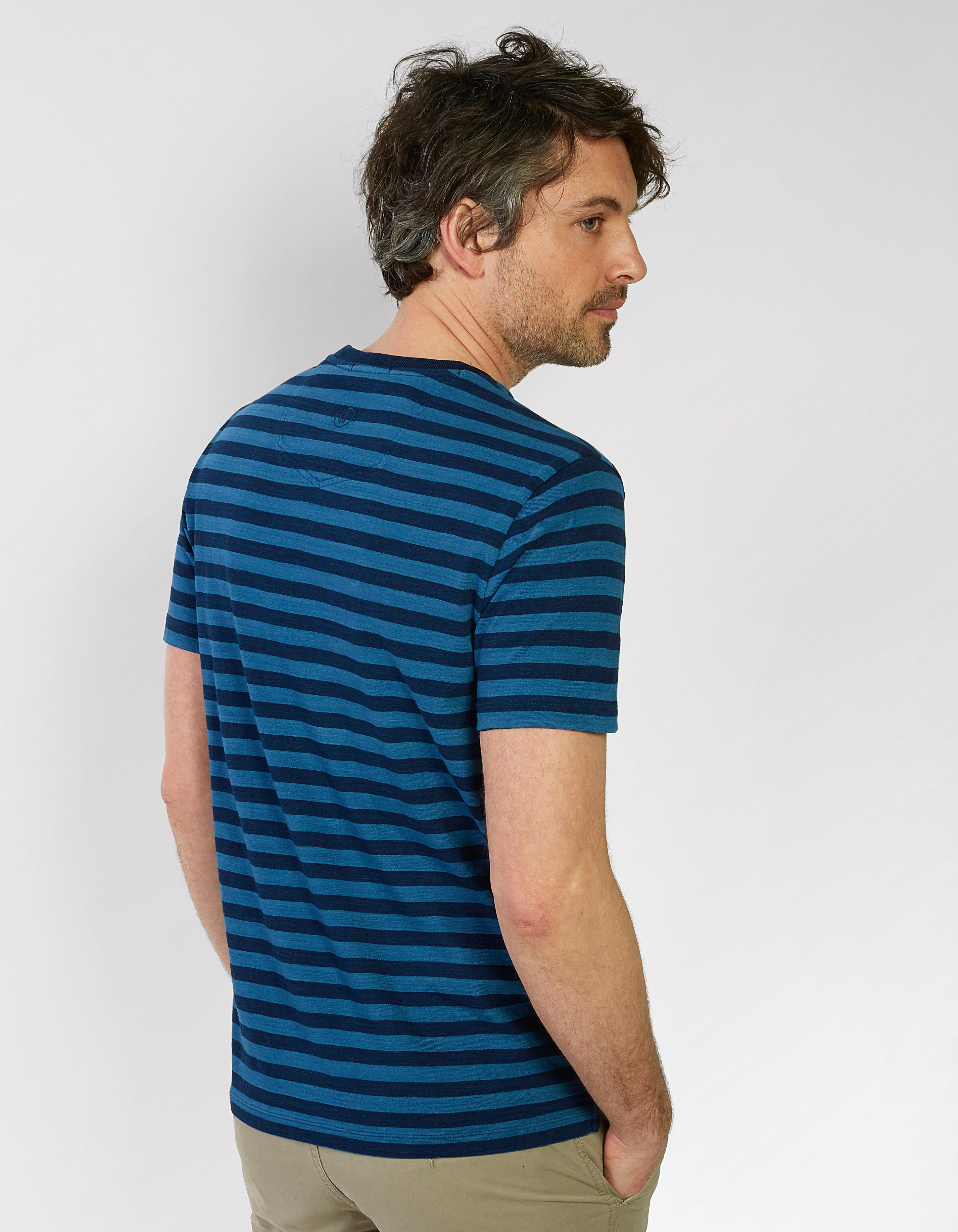 Indigo Breton Slub Crew Neck T Shirt