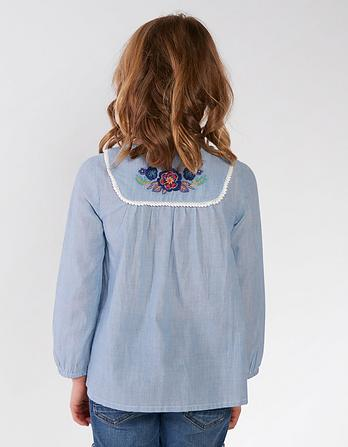 Mera Stripe Embroidered Blouse