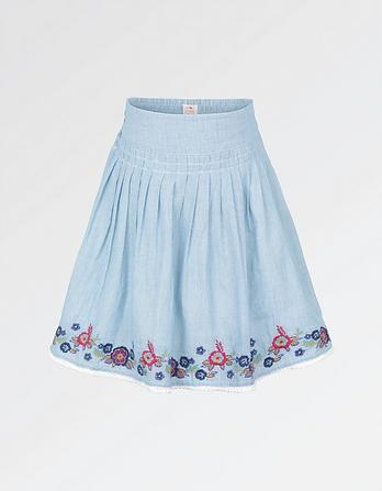 Embroidered Fine Stripe Skirt