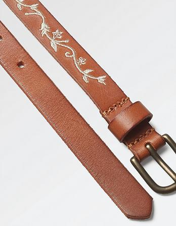 Floral Vine Embroidered Leather Belt