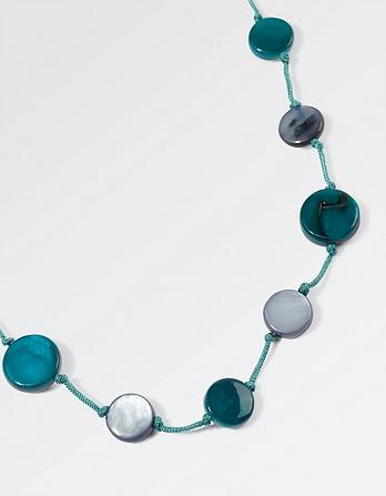 Teal Disc Necklace