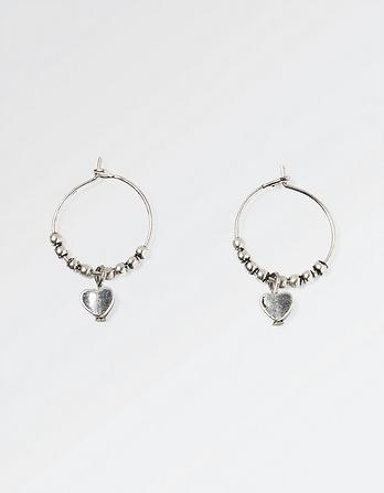 Heart Drop Hoop Earrings