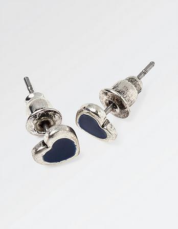 Enamel Heart Stud Earrings