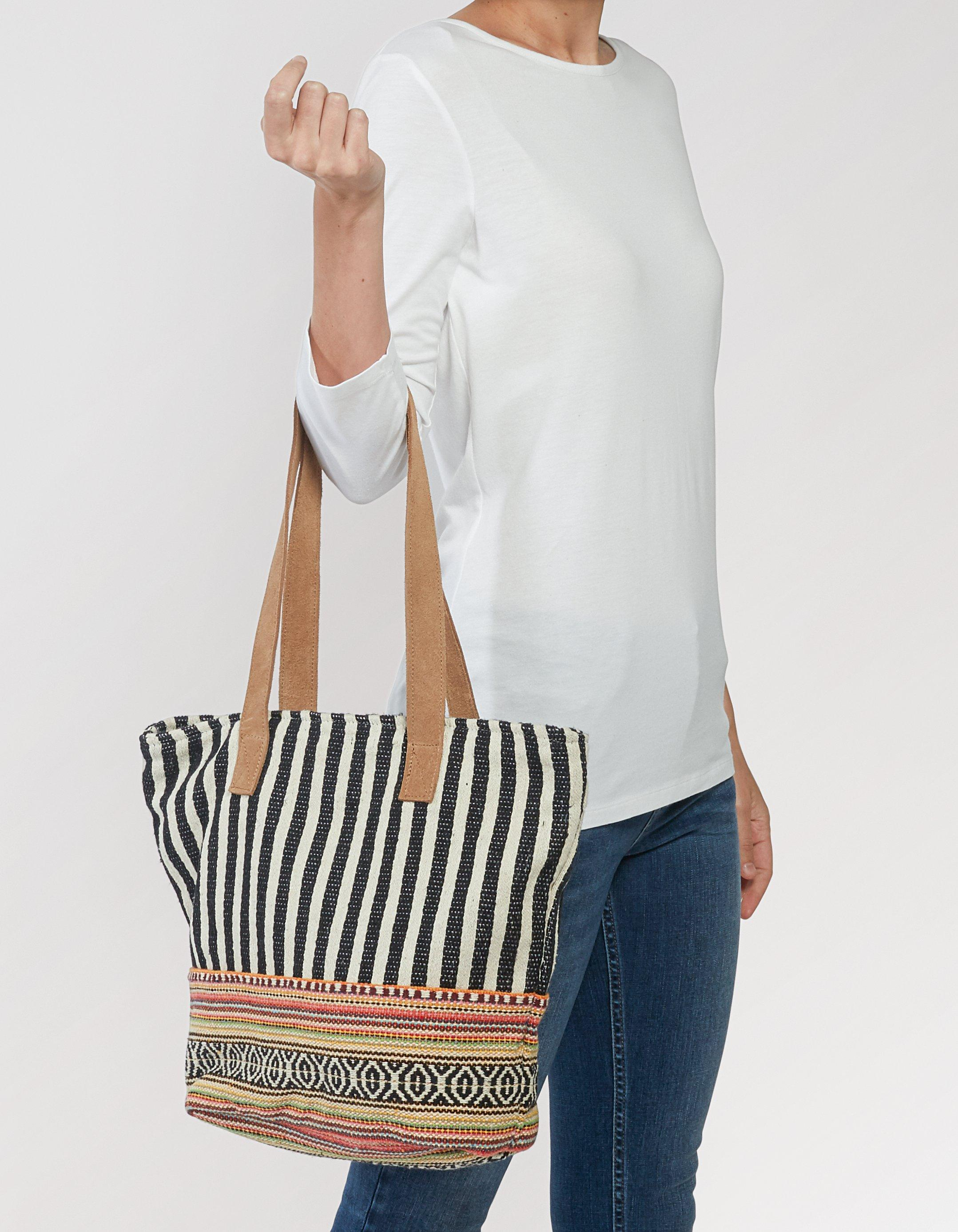 Woven Patchwork Tote Bag