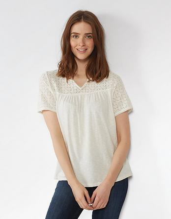 Clover Lace Notch Neck Top