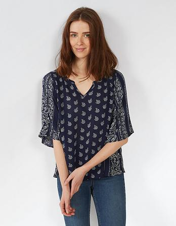 Kayla Woodblock Paisley Blouse