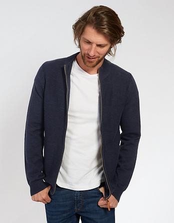 Winchester Zip Thru Funnel Neck Cardigan
