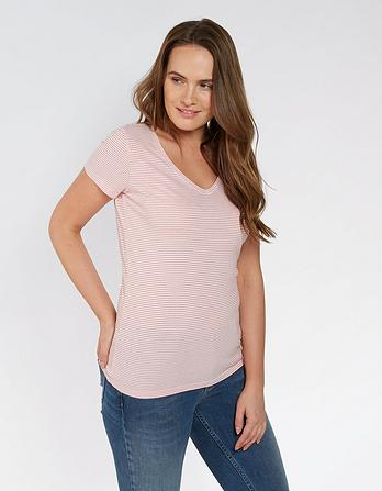 Hannah V Neck Stripe T Shirt