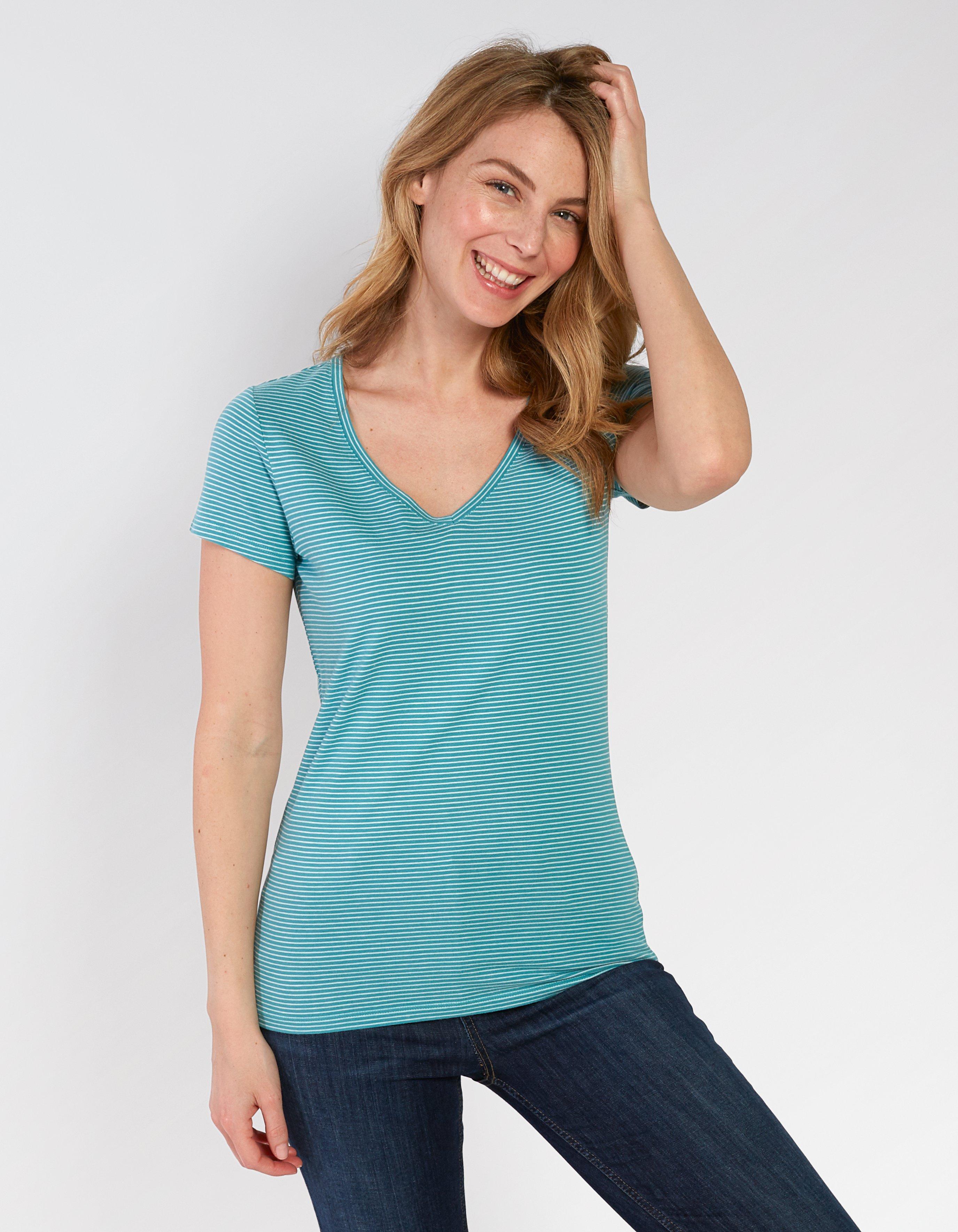 Hannah V Neck Stripe T Shirt