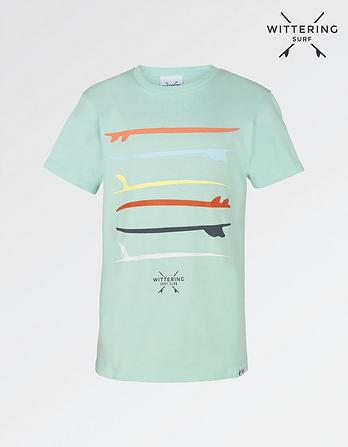 Wittering Surf Kids' Stacked Surfboard T-Shirt