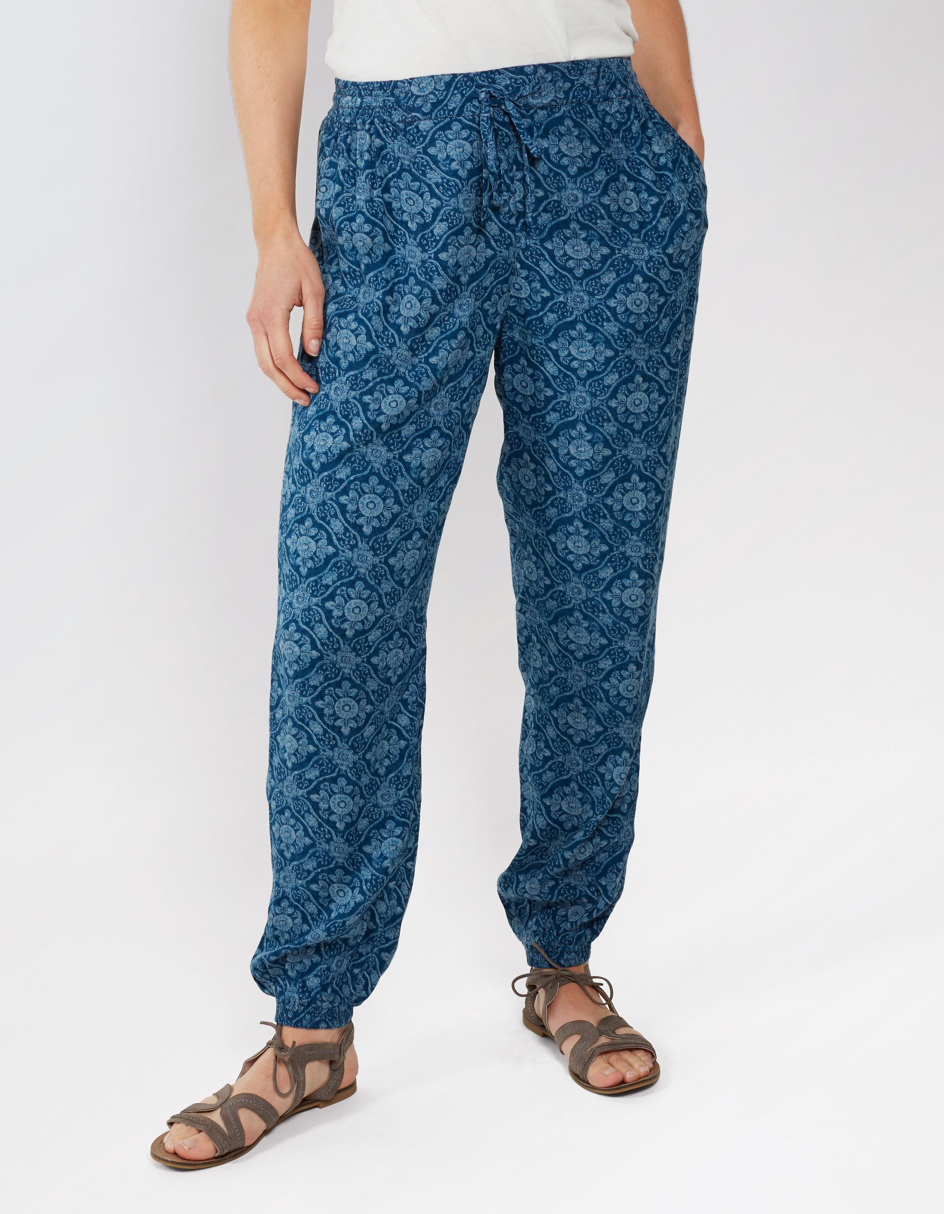 Indigo Woodblock Cuffed Trousers
