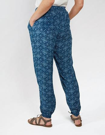 Indigo Woodblock Cuffed Trousers