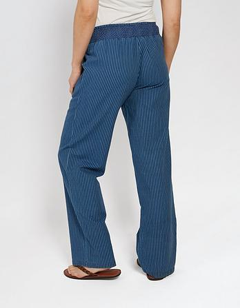 Indigo Stripe Wide Leg Trousers