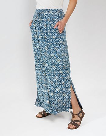 Jessica Indigo Woodblock Maxi Skirt