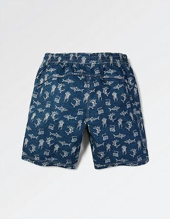 Reef Shark Print Deck Shorts