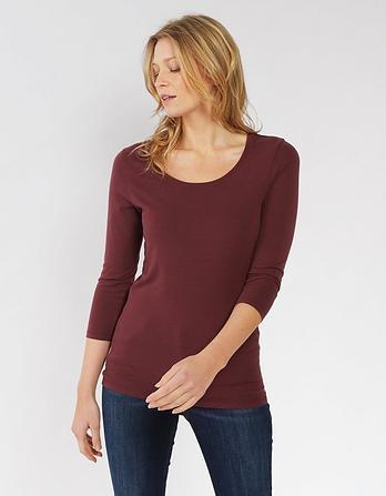 Laura Wide Stripe 3/4 Sleeve T-Shirt
