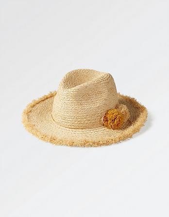 Pompom Panama Straw Hat