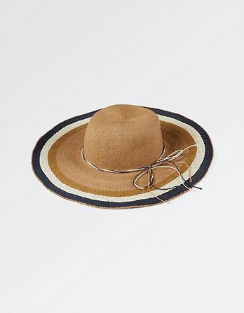 Striped Brim Floppy Hat