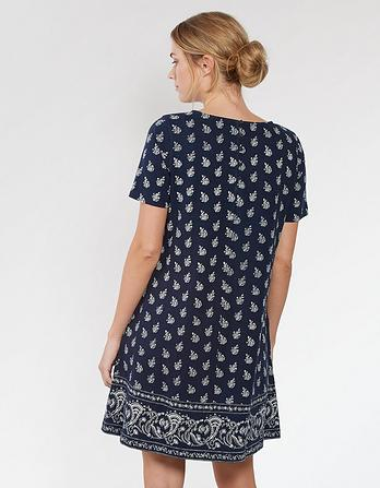 Simone Woodblock Paisley Dress