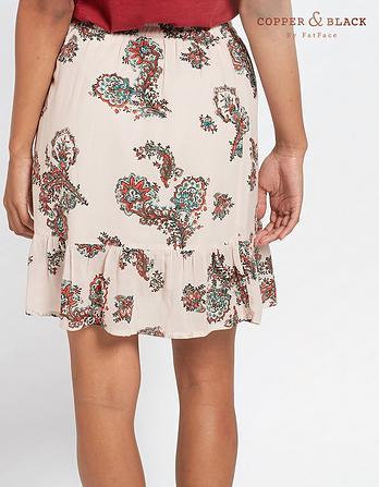 Claire Paisley Ruffle Skirt